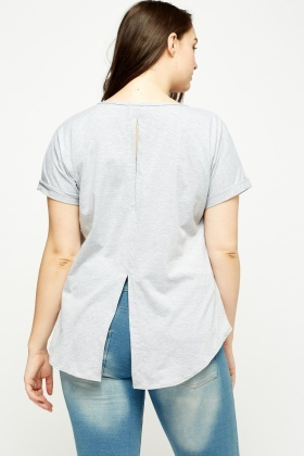 Grey Detailed Back Top