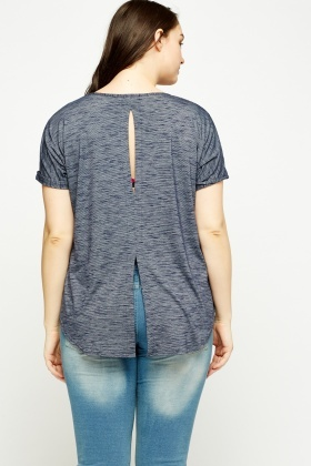 Middle Blue Detail Back Top