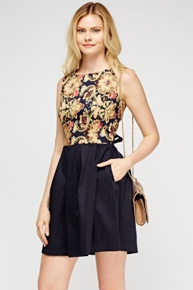 Mix Print Bodice Skater Dress