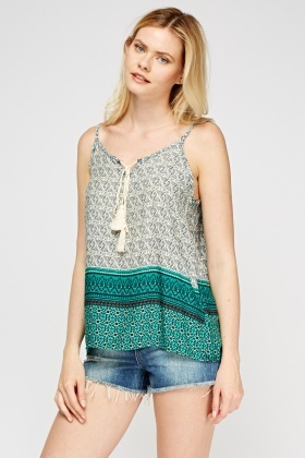 Mix Print Tie Up Neck Top