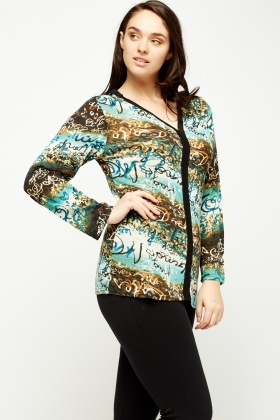 Mixed Print Long Sleeve Top