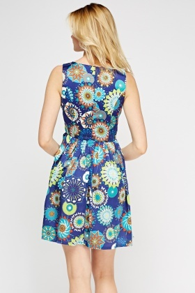 Royal Blue Ornate Print Swing Dress