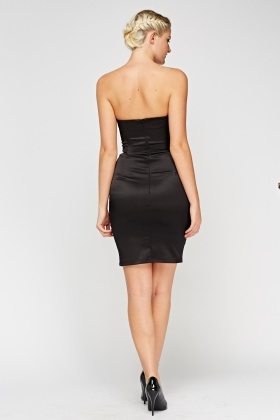 Black Satin Bandeau Bodycon Dress