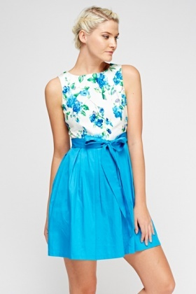 Blue Bodice Skater Dress