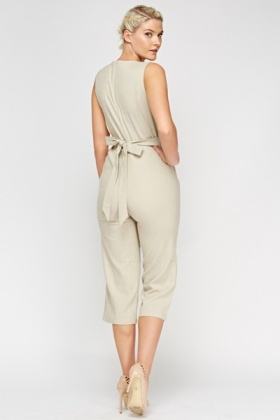 Cropped Twin Pocket Jumpsuit