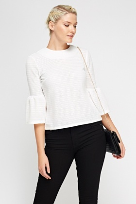 Flare Sleeve Laser Cut Top
