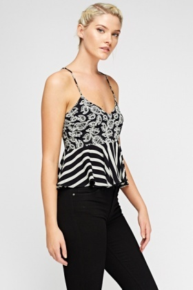 Flared Mix Print Top