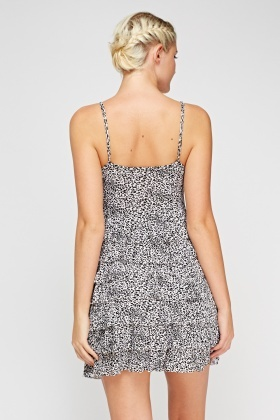 Frilled Off White Leopard Print Dress
