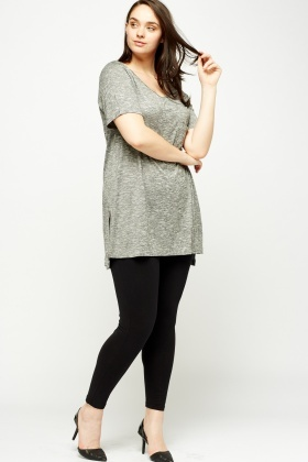 Grey Speckled Slit Side Top