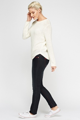 Red Trim Charcoal Jeans