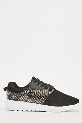 Black Contrast Perforated Trainers