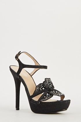 Encrusted Butterfly Heeled Sandals
