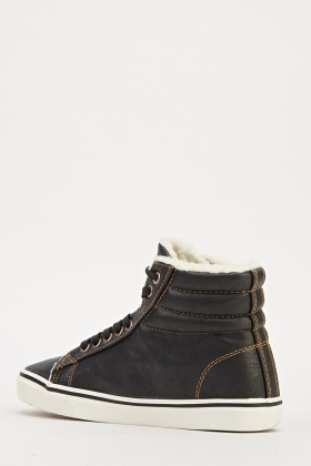 Faux Leather High Top Trainers