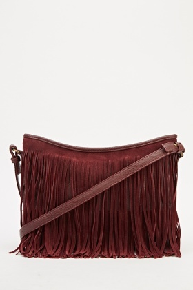 Maroon Fringed Shoulder Bag