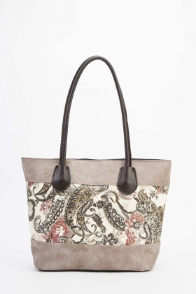 Mix Print Panel Faux Leather Bag