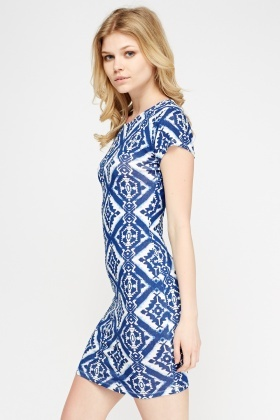 Blue Printed Bodycon Dress