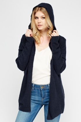 Bobble Knit Hooded Cardigan