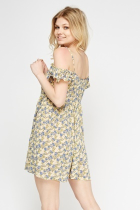 Cold Shoulder Yellow Printed Dress