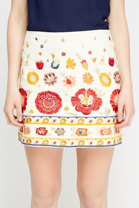 Cream Embroidered Mini Skirt
