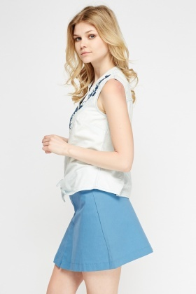 Embroidered Knot Hem Top