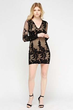 Mesh Overlay Bodycon Dress