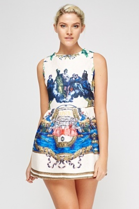 Mixed Print Embossed Skater Dress