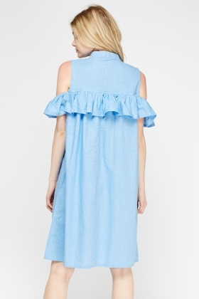 Ruffled Cold Shoulder Dress