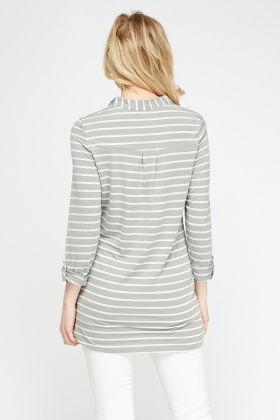 Striped Middle Grey Top