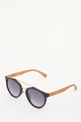 Wooden Contrast Frame Sunglasses