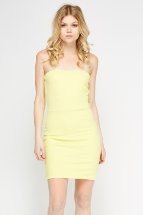 Yellow Bandeau Textured Dress