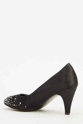 Encrusted Satin Pump Heels
