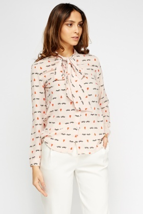Eyelash Printed Tie Neck Blouse