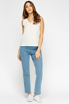 Straight Leg Denim Jeans