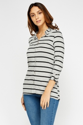 Striped Button Front Top