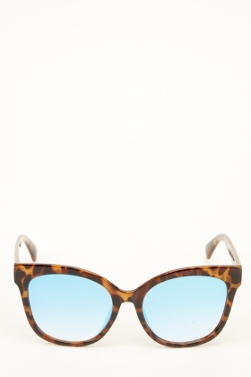 Tortoise Printed Mirrored Butterfly Sunglasses