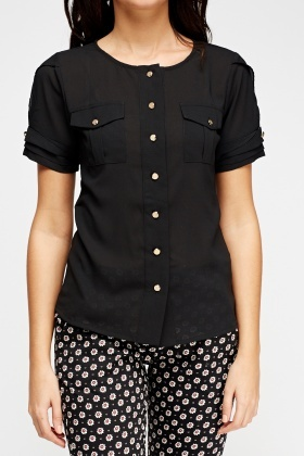 Button Detailed Sheer Blouse