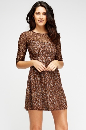 Lace Overlay Coffee Dress