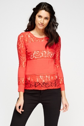 Mesh Insert Long Sleeves Top
