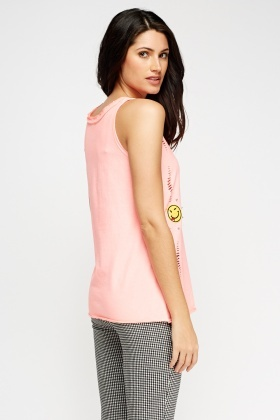 Neon Pink Badge Top