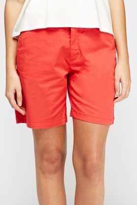 Red Casual Shorts