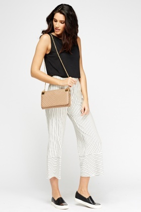 Stripped Flare Hem Trousers