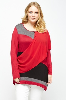 Wrap Colour Block Asymmetric Top