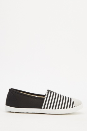 Contrast Stripe Slip On Shoes