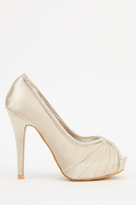 Encrusted Champagne Satin Heels