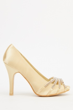 Encrusted Detail Satin Heels