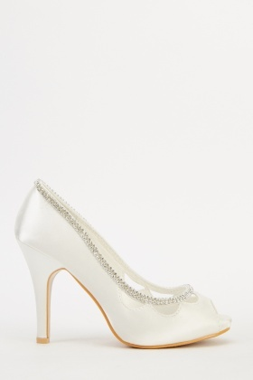 Encrusted Peep Toe Satin Heels