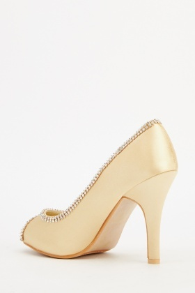 Encrusted Trim Satin Heels