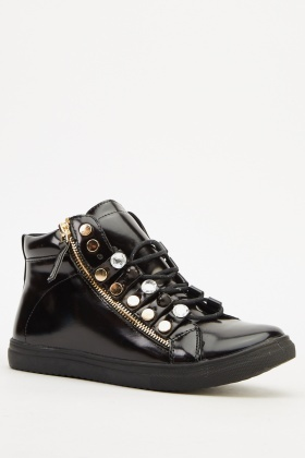 Faux Leather Embellished High Top Trainers