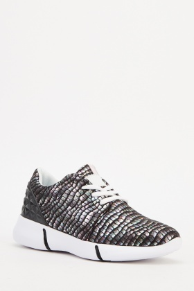 Holographic Mock Croc Trainers