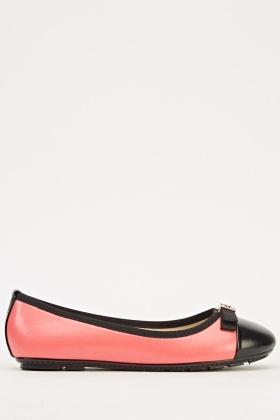 Two Tone Bow Ballet Pumps